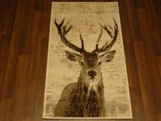 Modern Approx 4x2 60cm x 110cm Novelty Stags New Rugs Woven Backed Nice ,Creams